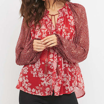 Free People Hendrix Floral Red Blouse - Urban Outfitters
