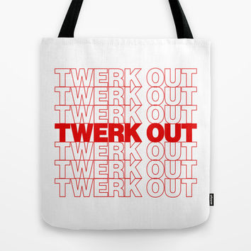 Twerk Out Thank You Plastic Bag Tote Bag by RexLambo