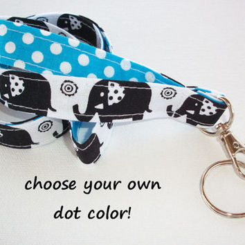 Lanyard  ID Badge Holder - Black Elephants with polka dots  - Lobster clasp and key ring
