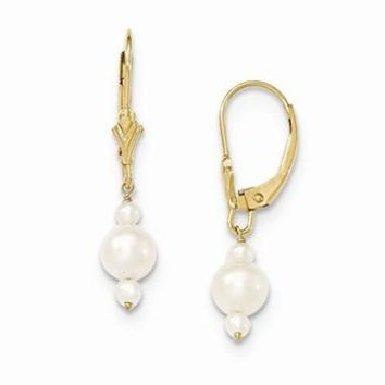 14k Yellow Gold 3-3.5mm 5-5.5mm Triple FWC Pearl Leverback Dangle Earrings
