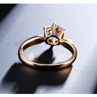 Engagement Ring for Women Rose Gold Color with Austrian Crystals