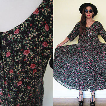 Vintage 90's black rose floral flower full skirt maxi button down gauze hippie boho bohemian dress