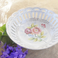 Vintage Victorian Lattice Work Bowl, Made in Japan, Shabby Chic, Wedding, Tea Party, Home Decor