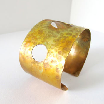 Artisan brass armband, hammered tribal cuff with cut outs, metal jewelry gift under 40