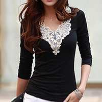 New Women's Embroidery Lace Decoration Tops V Neck Long Sleeves Slim Cotton T-Shirt