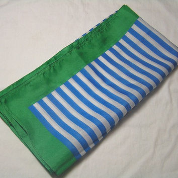 Pretty Blue Striped Scarf with Kelly Green Border, Circa 1980s in Polyester, 26 Inches Square, ~~by Victorian Wardrobe