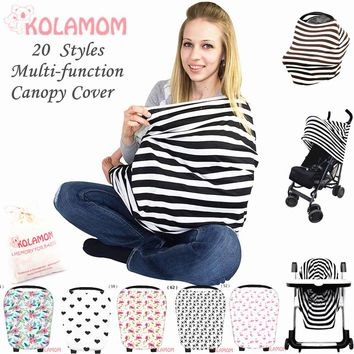 Kolamom 4in1 Multi-Use Nursing Cover Baby Blankets Swaddle Canopy Carriage Car Seat Shopping Cart Cover Newborn Cotton Swaddling