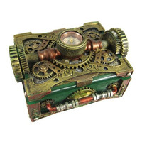 Steampunk Trinket / Jewelry Box Steam Punk W/ Compass
