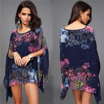 PEAPGC3 Summer Bathing Suit Cover ups Bikini Swimwear Printed Chiffon Beach Tunic Top Pareo Sexy Swimsuit Beachwear for Women  CU853082