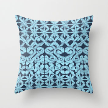 Ikat Lace in Pale Blue on Navy Throw Pillow by micklyn