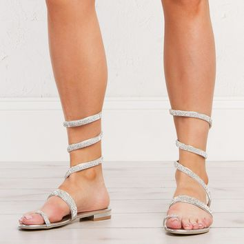 Studded Sandals in Black and Silver