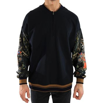 5f465a4fce20 Dolce   Gabbana Blue Cotton Half Zip Sweater