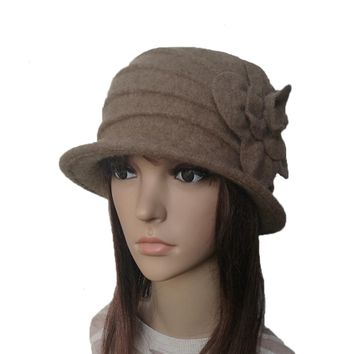 Women's Felt Wool Hat - Winter Felted Cloche Hat