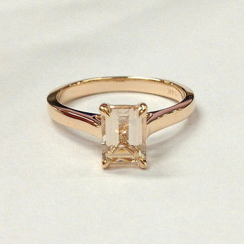 Reserved for jrockleterbuck, Emerald Cut Morganite Engament Ring 14K White Gold