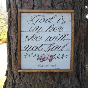 "Joyful Island Creations ""God is in her, she will not fail"" wood sign, girl nursery sign, girls room sign, shabby chic nursery decor"