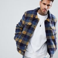 ASOS Borg Western Jacket In Blue Check at asos.com