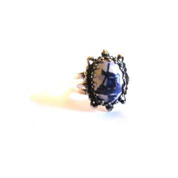 Silver Windmill Delft Holland Ring Adjustable