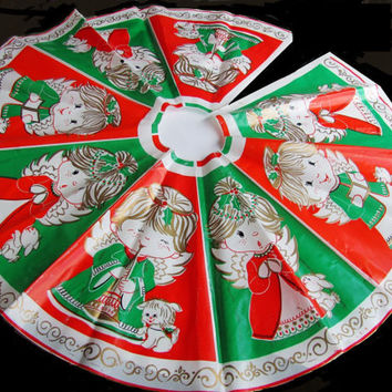 Vintage Christmas Angel Tree Skirt Plastic Mid Century Circular Red Green White
