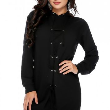 Sexy Black Front Lace Up Long Sleeve Hoodie Casual Dress