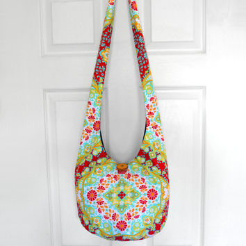 Hobo Bag Cross Body Bag Hippie Purse Sling Bag Boho Bag Slouch Bag Hobo Purse Hippie Bag Floral Hobo Bag Handmade Bag Bohemian Purse Hobo