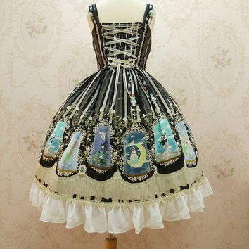 Women's tailor made crystal rabbit pattern lace black dress sleeveless with headband