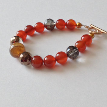 Agate, Carnelian and Crystal Bracelet