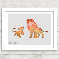 Simba and Mufasa Disney Watercolor Art Poster Print, The Lion King Watercolor, Kids Decor, Kids Gift, Not Framed, Buy 2 Get 1 Free! [No. 52]
