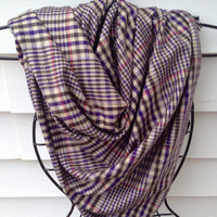 Women's blanket scarf-Handmade-Shawl-Wrap-Chunky Scarf-Winter Scarf-Purple Scarf-Domestic Violence-Scarf-Gifts for Her-Plaid Scarf-
