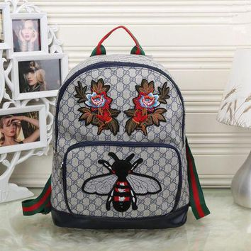 DCCK6HW Gucci' Women Casual Personality Fashion Classic Print Bee Flower Embroidery Backpack Large Capacity Travel Double Shoulder Bag