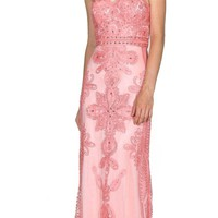 Sweetheart Neckline Appliqued Strapless Prom Gown Coral
