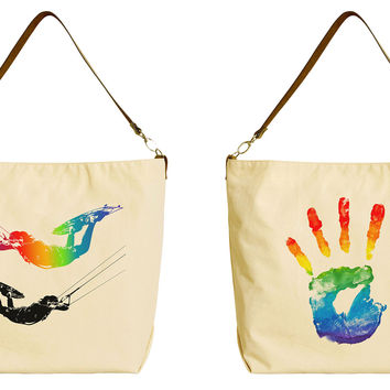 Rainbow Designs Beige Printed Canvas Tote Bag with Leather Strap WAS_29