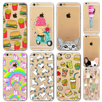 Soft Silicon Clear Thin TPU Phone Case Cover For Apple iPhone 6 6S 4.7 Inch  Lovely Fruit Banana Watermelon Clear Phone Case