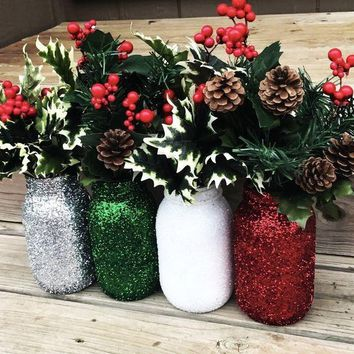 Holiday Glitter Mason Jar