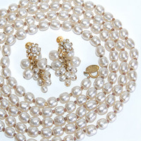 """Miriam Haskell 58"""" Baroque Pearl Necklace & Earrings Vintage Jewelry Opera Rope Length Single Strand Collectibles Accessories Luxury Goods"""