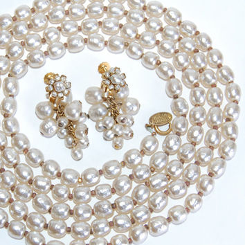 "Miriam Haskell 58"" Baroque Pearl Necklace & Earrings Vintage Jewelry Opera Rope Length Single Strand Collectibles Accessories Luxury Goods"