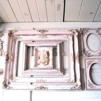 Pink and Gold Ornate Vintage Frames, Baby Pink Open Ornate Picture Frames, Vintage Wall Sconce, Wall Gallery, Shabby Chic Nursery Frame Set