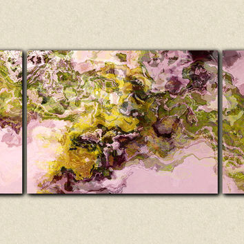 "Abstract expressionism triptych canvas print, 30x60 to 40x78 gallery wrap in earthy green and mauve, ""Silk Road"""