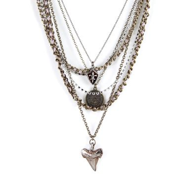 Seaweed Chain Necklace in Taupe with Fleur de Lis, Coin and Sharktooth