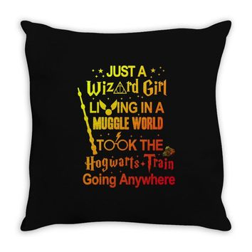 Just A Wizard Girl Living In A Muggle World Throw Pillow