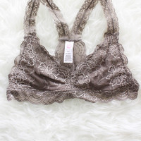 Racerback Lace Bralette - Taupe