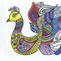Adult coloring page printable hand drawn Peacock