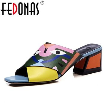 FEDONAS Women Sandals High Heels New Prints Summer Fashion Gladiator Genuine Leather Sandals Platform Shoes Woman Casual Slipper