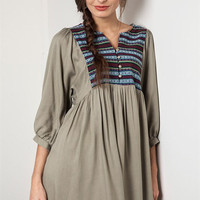 Embroidered Peasant Dress - Olive