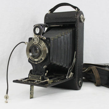 Antique 1916 Eastman Kodak Camera No. 2-C Kodak Jr, Autographic with Original Eastman Kodak Leather Caring Case