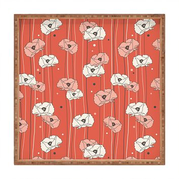 Heather Dutton Red Poppy Field 1 Square Tray