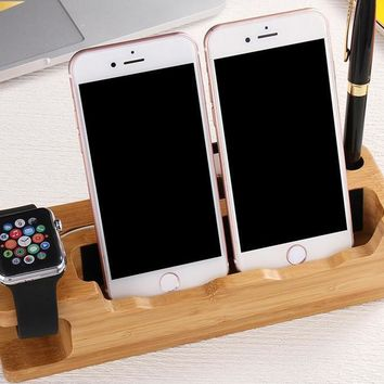 Cool Wooden Charging Dock Station Mobile Phone / iWatch Cradle Holder