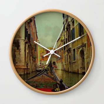 Venice, Italy Canal Gondola View Wall Clock by Theresa Campbell D'August Art