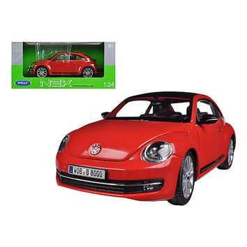 Volkswagen New Beetle With Sunroof Red 1/24 Diecast Car Model by Welly