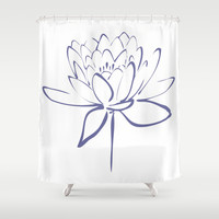 Blue Lotus Blossom Calligraphy Print Shower Curtain by Makanahele | Society6