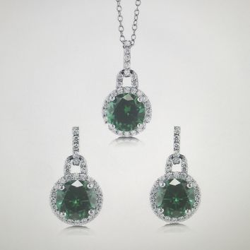 9.4TCW Round Cut Halo Emerald Green Russian Lab Diamond Solitaire Earring & Pendant Set